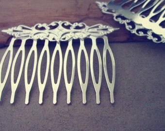 6 Pcs 42mmx57mm (9teeth) Silver color Hair Combs