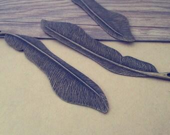 3pcs Antique bronze leaves Pendant Charms 21mmx111mm