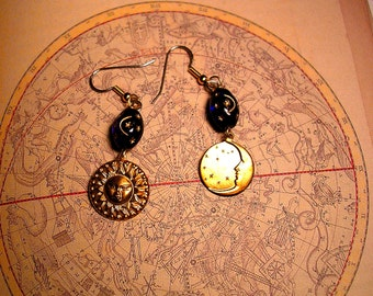 Sun and Moon Earrings with Celestial Blue Glass Bead .Hypoallergenic.