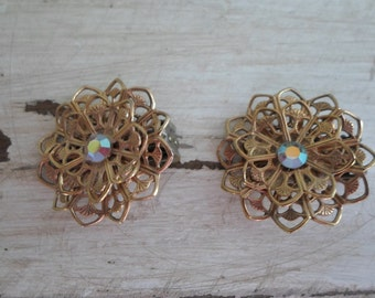 Gold Tone Round Filigree Rhinestone Clip On Earrings