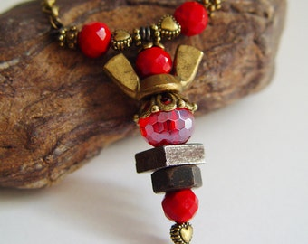 Antique Bronze and Blood Red Beaded Wing Nut Angel Necklace with Heart Beads