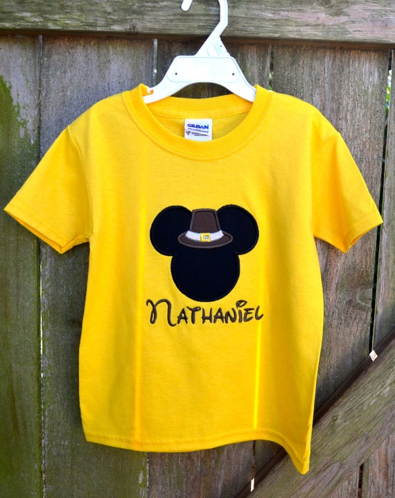 Monogrammed Pilgim Mickey Mouse Applique Shirt By