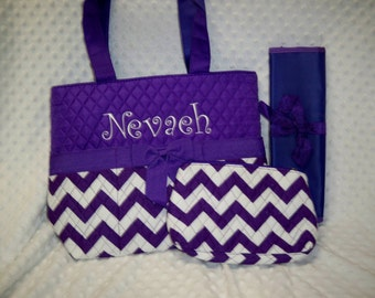 PERSONALIZED 3 Piece Chevron Diaper Bag Set with Name - Baby Girl Purple Chevron Personalized Diaper Bag, Pouch, and Changing Pad