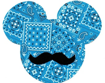 Mickey Mouse with mustache iron on applique - DIY