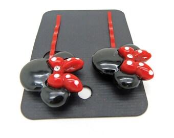 Mouse Ears Bobby Pins, Red Bobby Pins, Black Bobby Pins, Hair Pins, Kawaii Hair Pins