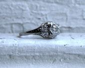Vintage Filigree Platinum Diamond Engagement Ring with GIA Cert - 0.79ct