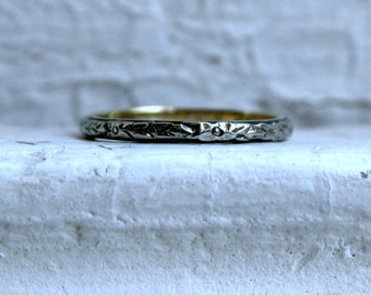 Floral Etched Antique 14K White/ Yellow Gold Wedding Band.
