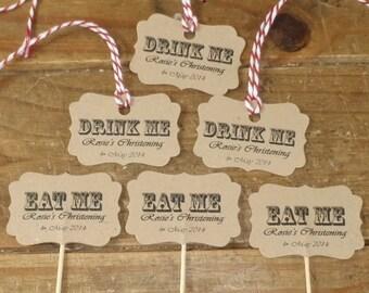 10 x Vintage Western 'Eat Me' Picks & 'Drink Me' Tags Cake Food Flags Alice Lables