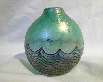 VINTAGE  Robert Held Iridescent Blue/Green Art glass Vase - Signed