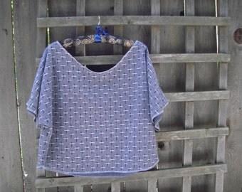 Funky Dancer Retro Crop Top/ Eco Half Shirt/  Casual Sporty Off the Shoulder Sweat Half Shirt L/XL