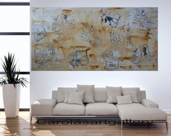 "56""  Original Large Abstract Painting  Postcard Painting Acrylic Painting Modern Art  Handmade by Carola, 56""x24"""