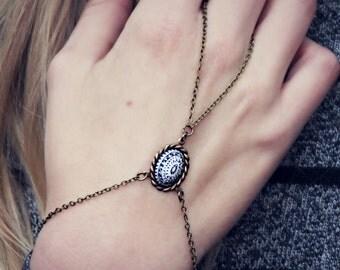 black and white slave bracelet, bracelet ring, ring bracelet, boho bracelet, hipster bracelet, slave ring
