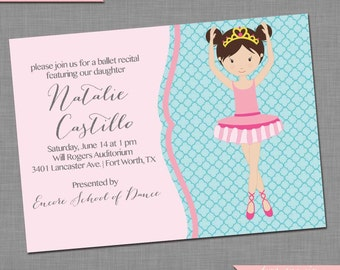 Quatrefoil Dance Recital Invitation - Ballet Recital Invitation - DIY Printable Invitation