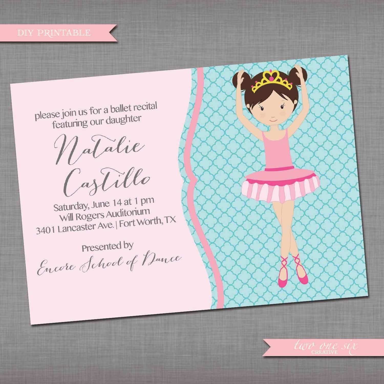 Quatrefoil Dance Recital Invitation Ballet Recital