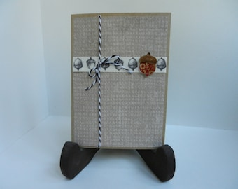 Acorn Handmade Blank Vintage-Look Greeting Card with acorn embellishment and acorn ribbon