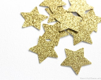 25 Gold Glitter Stars Die cuts punches cardstock 1 3/8 inch -Scrapbook, cards, embellishment, confetti, table decoration
