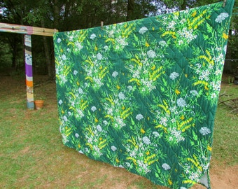 Vintage flowered green and yellow BEDSPREAD seventies duvet bed cover bedding blanket