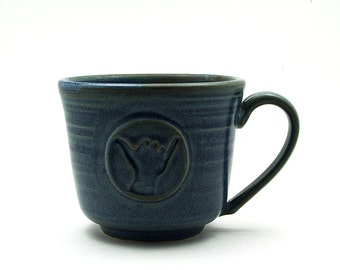 Hang Loose Coffee Mug: Blue Shaka Ceramic Cup, Cool Gift for Surfers, Handmade Father Husband Gift - Ready to Ship