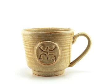 Coffee Mug with a Coqui or Tree Frog, Cream Pottery Tea Cup, Taino Inpired Gifts, Father or Husband Gift by Miri Hardy - Ready to Ship
