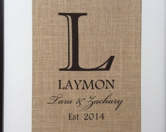 Personalized Burlap Print- Gift for Couples- Monogram with Last Name and Est. Date