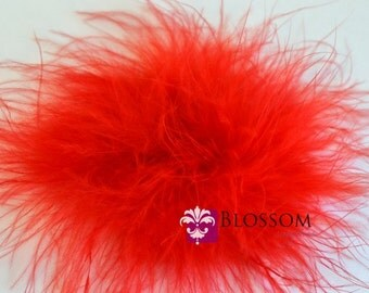 Set of 2 RED Puffs - The Sophie Collection - Marabou Puffs - DIY Flower Headband Supplies - Feather Puff