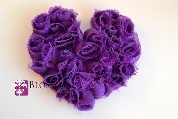 1 PURPLE Shabby Heart Applique - The Kate Heart Collection - Large Chiffon Rose Heart Appliques - Valentine's Day - diy Maternity Sash