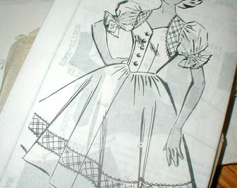 Patt O Rama 8392 Size 12 Bust 32 Dress Pattern *Full Skirt*Puffy Sleeves*