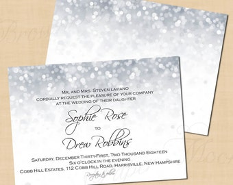 Silver Shimmer Wedding Invitations, Grey Sparkle Glitter, New Year's Party (7x5, Landscape): Text-Editable, Printable Instant Download
