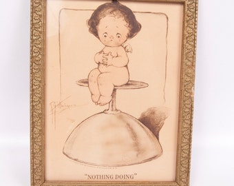 Antique Art Print 1909 Signed Wiederseim (Drayton) Reinthal & Newman Pub Cupid Sits on Glass NOTHING DOING