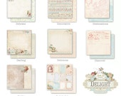"Delight Collection 12""x12"" Scrapbook Paper Set of Eight Card-stock Papers by Jodie Lee for Prima Marketing."