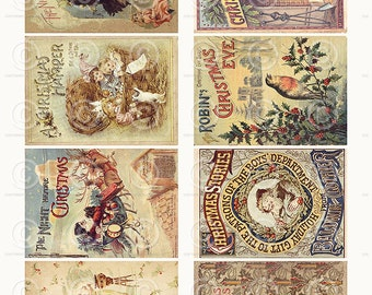 Vintage Christmas Book Cards ATC backgrounds Collage Sheet Printable Digital Download File