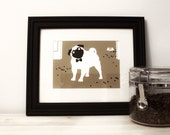 Pug Art Print - Dog Puggle Artwork - Bow Tie Silhouette - Pet Portrait Giclee - Brown Black and White 5x7