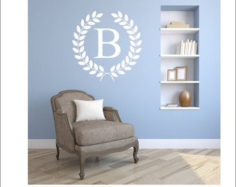 Monogram Vinyl Decal Monogram Wall Decal Wreath Initial Laurel Wreath Vinyl Wall Decal Personalized Custom Initial Family Initial Housewares