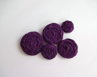 Plum Purple Fabric Rosettes Embellishment