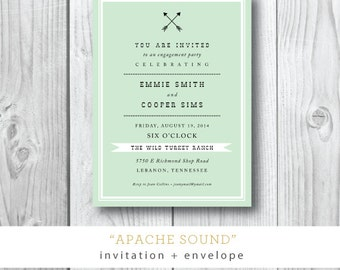 Apache Sound   Engagement Dinner or Party Invitation   Printed or Printable by Darby Cards