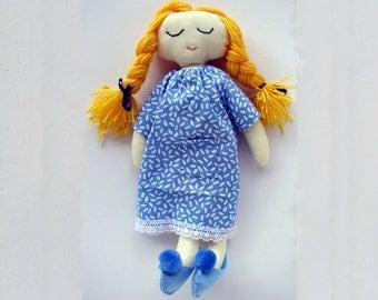 Rag Doll Pattern, - Soft Doll pattern PDF, Softie, Cloth Doll Ragdoll, Digital Download Charys in nightdress and slippers