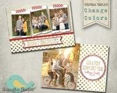 Christmas Card PHOTOSHOP TEMPLATE - Gold Family Christmas Card 113