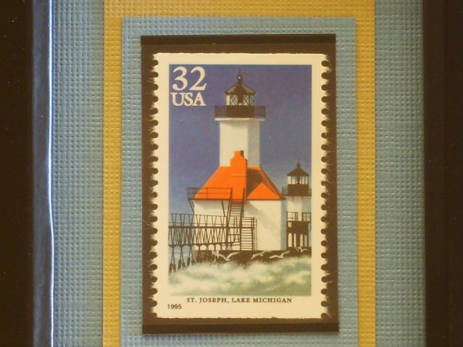 st joseph light lake michigan framed postage stamp no. Black Bedroom Furniture Sets. Home Design Ideas