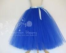 Royal Blue Flower Girl Tutu Skirt Custom Girls Toodler Long Tea Length Flower Girl Tutu Skirt Ribbon Bow Anna Costume by American Blossoms