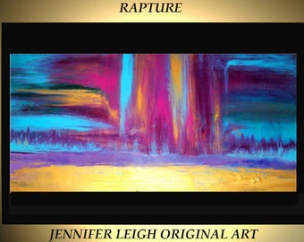 Large Original Abstract Painting Modern Contemporary Canvas Art Purple Pink Blue Gold RAPTURE 48x24 Palette Knife Texture Oil J.LEIGH