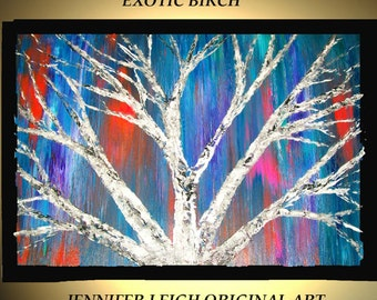 Original Large Abstract Painting Modern Contemporary Canvas Art  Blue White Pink EXOTIC BIRCH Tree 36x24 Palette Knife Texture Oil J.LEIGH