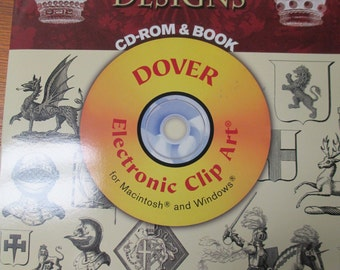 Dover Clip Art  illustrations of Heraldic Designs 1000 Copy-right Free designs 48 pages CD Rom    used good condition