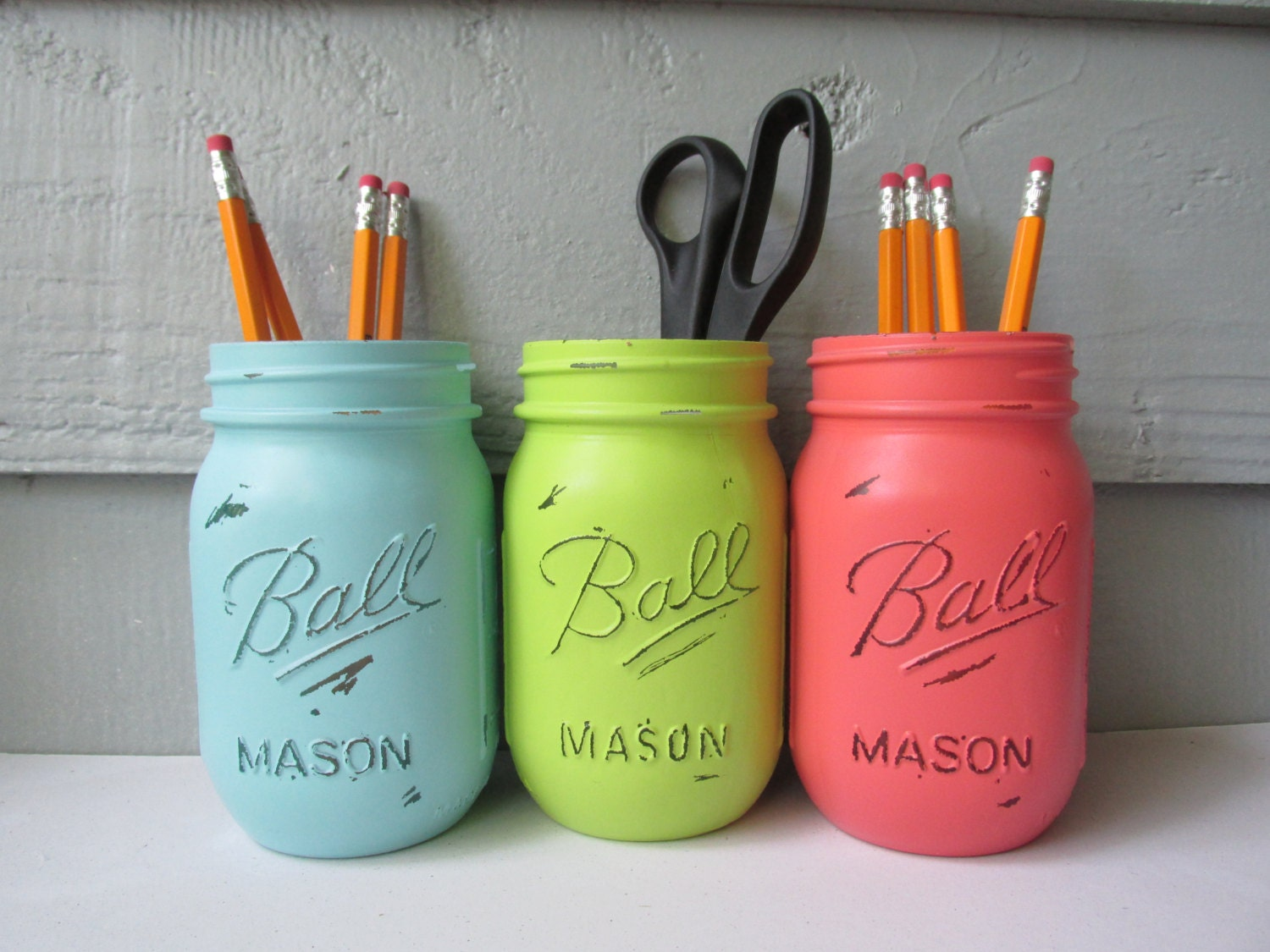 dorm decor painted and distressed ball mason jars lime green