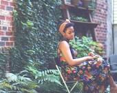 black floral grunge vintage spring dress S / M