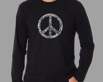 Men's Long Sleeve T-shirt - Created using the word PEACE in 77 different languages