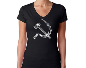 Women's V-Neck T-Shirt - Created using pictures and words that define the old Soviet era Hammer and Sickle