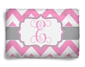 Personalized Chevron Pillowsham - Name or Intials - Any Color