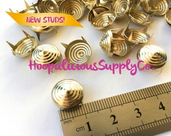 25pc-LARGE 12mm Swirl Prong Studs. Gold or Silver. DIY Clothing, Shoes, Accessories. Fast Shipping from USA w/ Tracking 4 Domestic Orders.