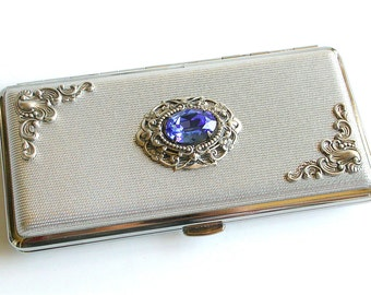 Women Cigarette Case Silver Victorian for  King Size to 120's - More Colors -  Vintage Inspired Smoking Accessories