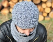 Fluffy crochet male hat, grey, crochet, autumn fall winter accessory for man, gift for teen, boy, christmas gift